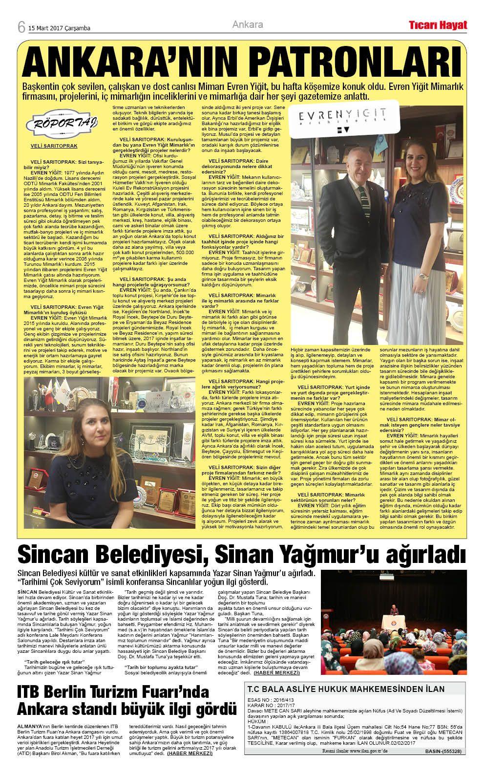 Evren Yiğit | Tusiav Başkanı Sayın Veli Sarıtoprak ile röportajımız Ticari Hayat gazetesinde. | Sıradışı Digital