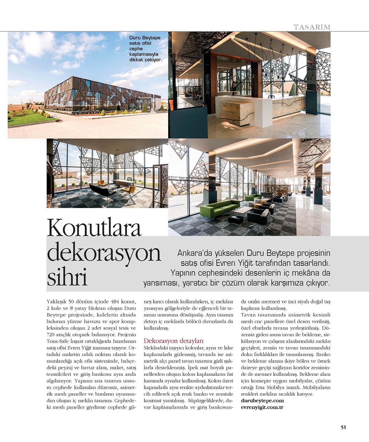 Evren Yiğit | Evren Yiğit Mimarlık'ın Duru Beytepe projesinin satış ofisi Maison Française Emlak Yaşam Mimarlık Kış 2017 özel sayısında | Sıradışı Digital