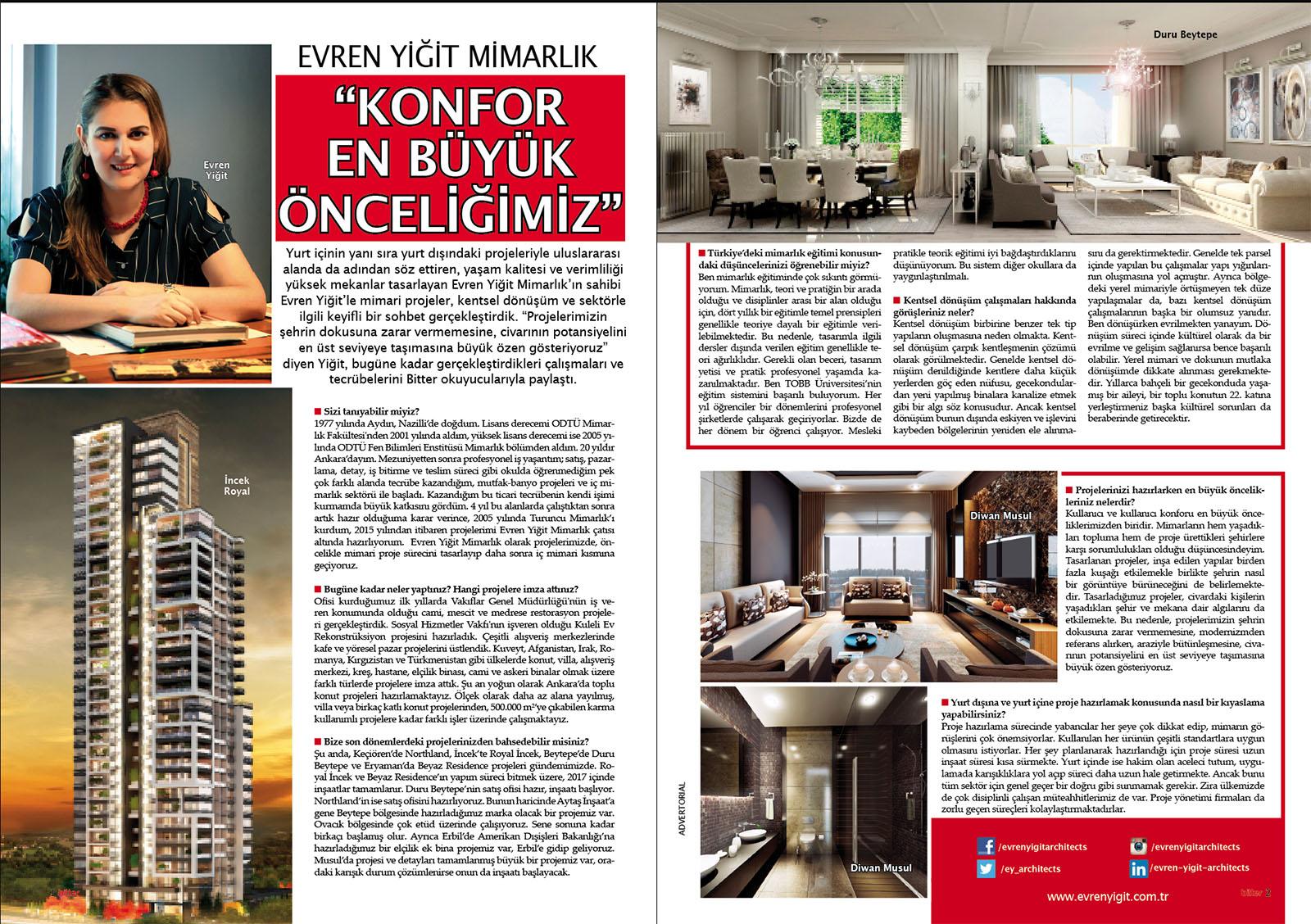 Evren Yiğit | Evren Yiğit Mimarlık Bitter Dergi'nin Temmuz-Ağustos sayısında. | Sıradışı Digital