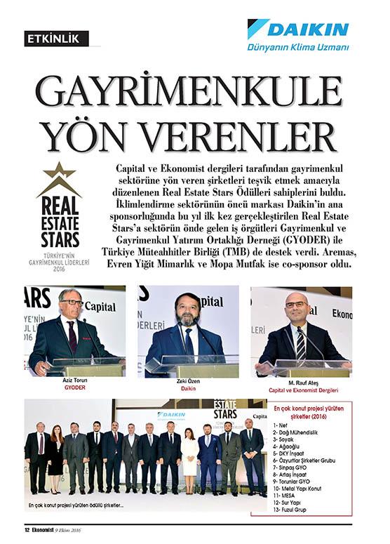 Evren Yiğit | Co-sponsorluğunu üstlendiğimiz Real Estate Stars Türkiye'nin Gayrimenkul Liderleri 2016 ödülleri Ekonomist dergisinin 9-15 Ekim 2016 sayısında yer aldı. | Sıradışı Digital