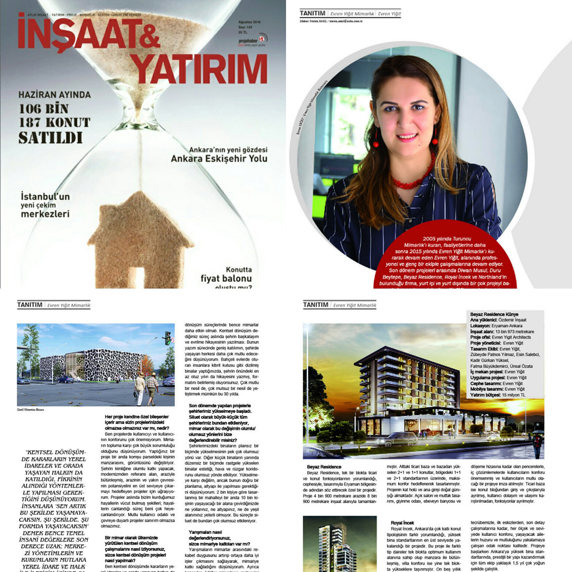 Evren Yiğit | Evren Yiğit Mimarlık İnşaat & Yatırım dergisinin Ağustos 2016 sayısında | Sıradışı Digital